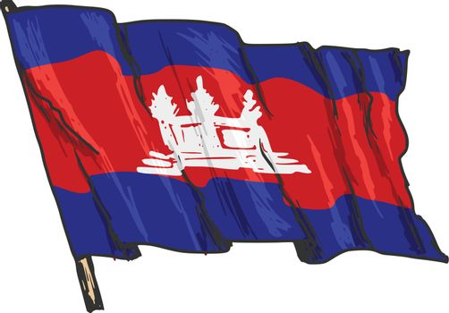 hand drawn, sketch, illustration of flag of Cambodia