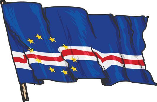 hand drawn, sketch, illustration of flag of Cape Verde