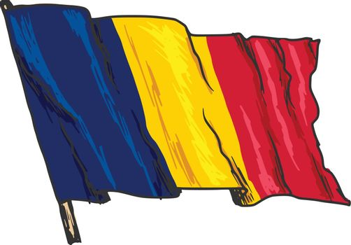 hand drawn, sketch, illustration of flag of Chad