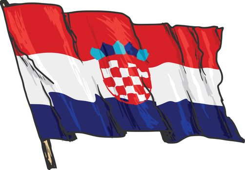 hand drawn, sketch, illustration of flag of Croatia