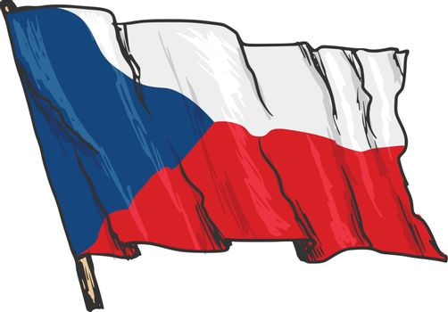 hand drawn, sketch, illustration of flag of Czech Republic