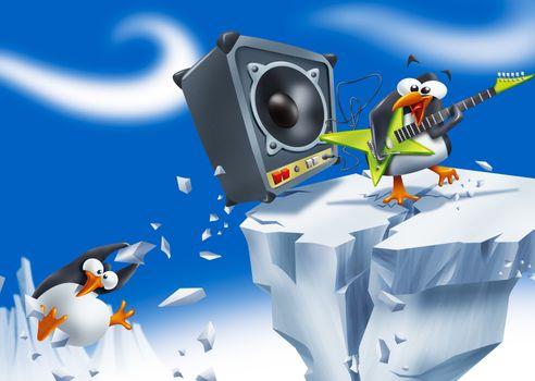 Loud penguin rockstar