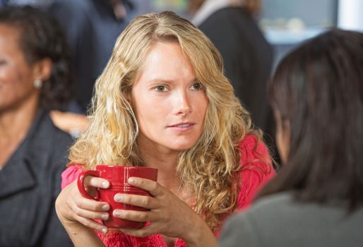 Concerned Woman in Cafe