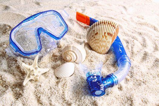 Summer beach toys in the sand