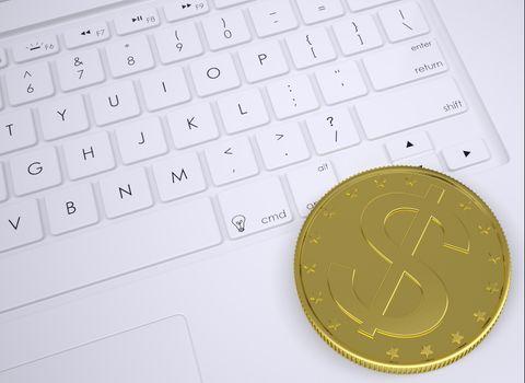 Gold dollar coin on the keyboard