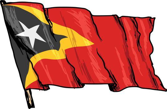 hand drawn, sketch, illustration of flag of East Timor