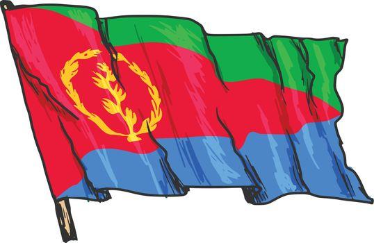 hand drawn, sketch, illustration of flag of Eritrea