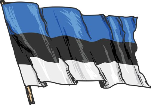 hand drawn, sketch, illustration of flag of Estonia