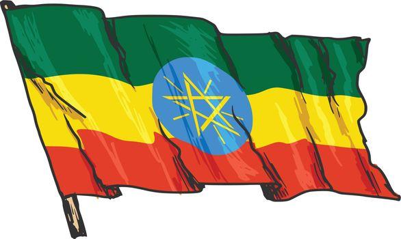 hand drawn, sketch, illustration of flag of Ethiopia