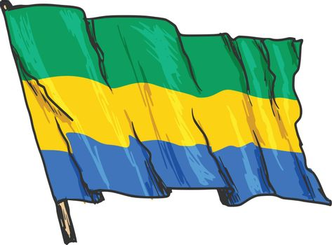 hand drawn, sketch, illustration of flag of Gabon