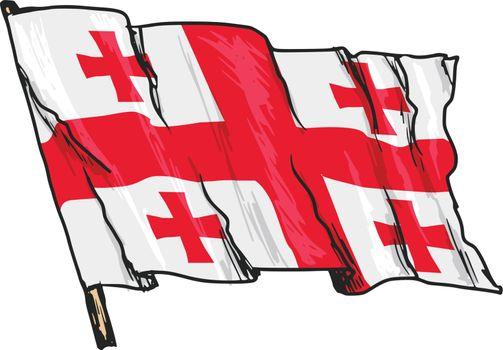 hand drawn, sketch, illustration of flag of Georgia