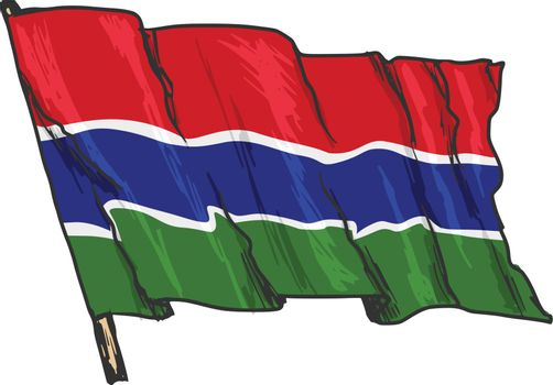 hand drawn, sketch, illustration of flag of Gambia