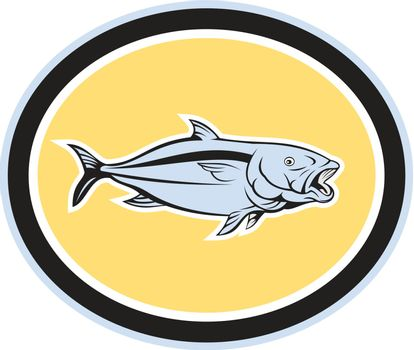 Kingfish Cartoon Oval