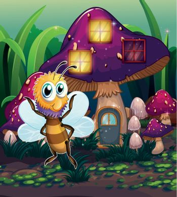 A mushroom house with a dragonfly nearby