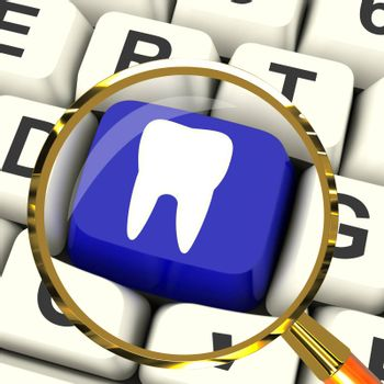 Tooth Key Magnified Meaning Dental Appointment Or Teeth