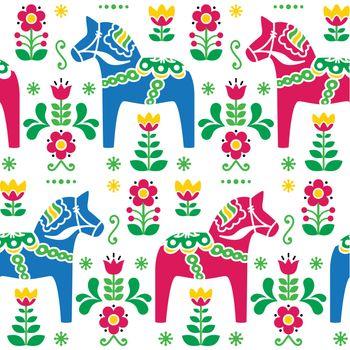 Swedish folk art Dala or Daleclarian horse seamless pattern
