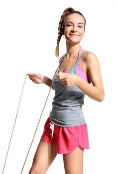 energetic woman jumping rope