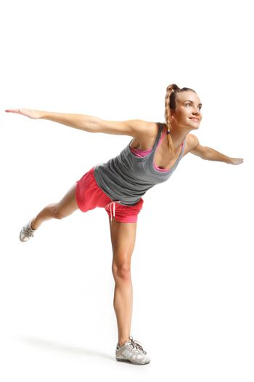 Woman practicing balance