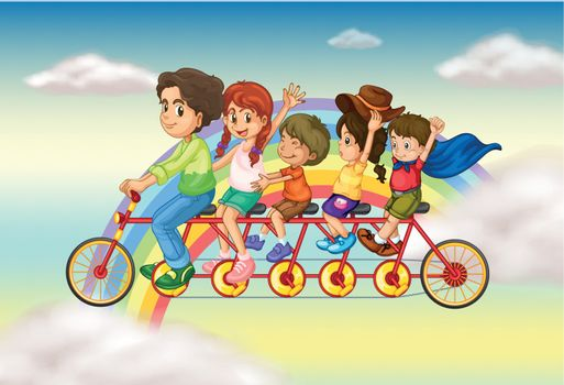 Illustration of a family bike with a group of people riding