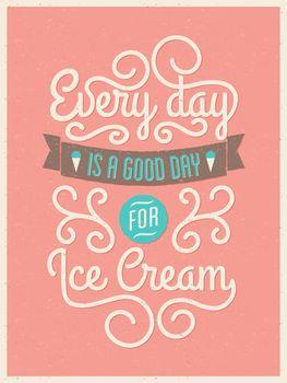 Retro Typography Ice Cream Poster