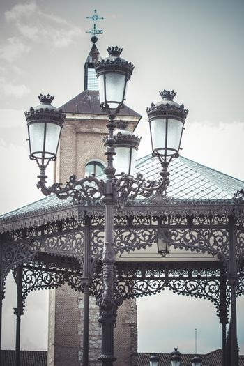 traditional street lamp with decorative metal flourishes