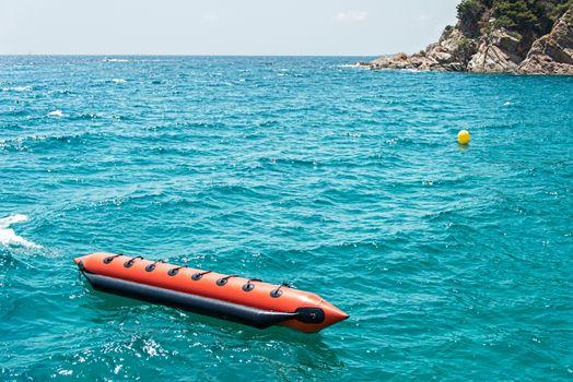 Moored floating banana boat