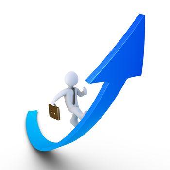 3d businessman is running on a graph going upwards