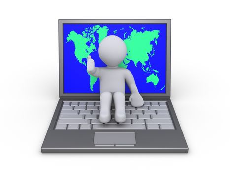 Person sitting on a laptop with the world map on the screen