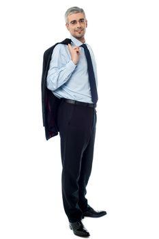 Businessman with jacket over shoulder