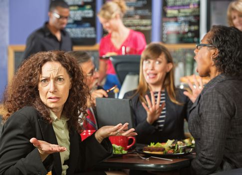 Irritated Woman in Cafe