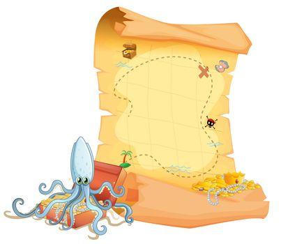 A treasure map and an octopus above the treasure box