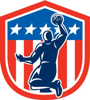 American Basketball Player Dunk Rear Shield Retro