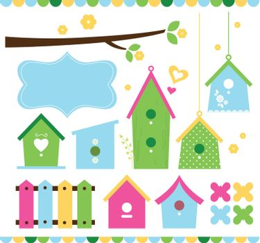 Beautiful colorful spring bird houses. Vector Illustration