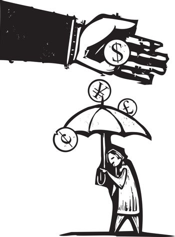 Woodcut style expressionist image of a bankers hand pouring money on a person with an umbrella.
