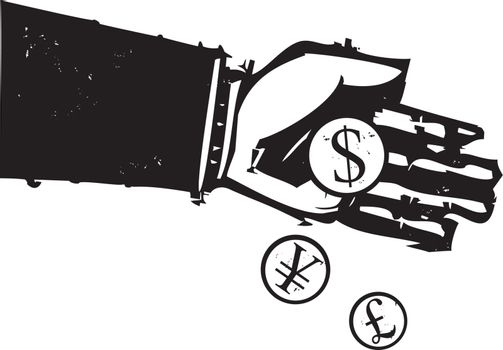 Woodcut style expressionist image of a bankers hand pouring coins.