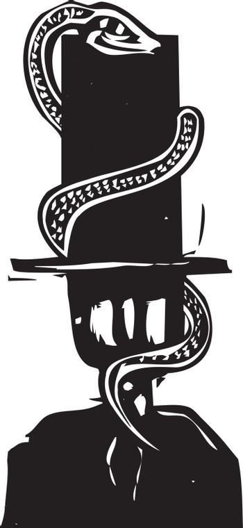 Woodcut style expressionist image of a snake wrapping around a banker's tall hat.