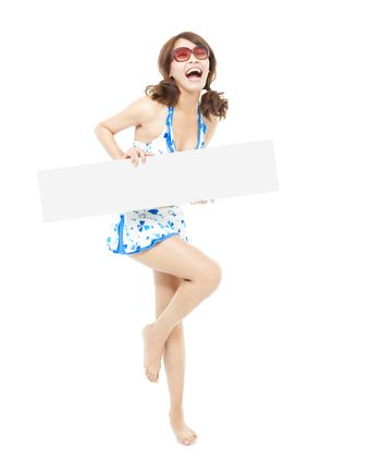 sunshine girl is so happy and holding a board
