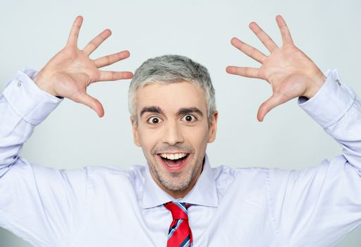 Successful excited male executive