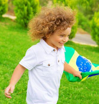 Happy little football fan