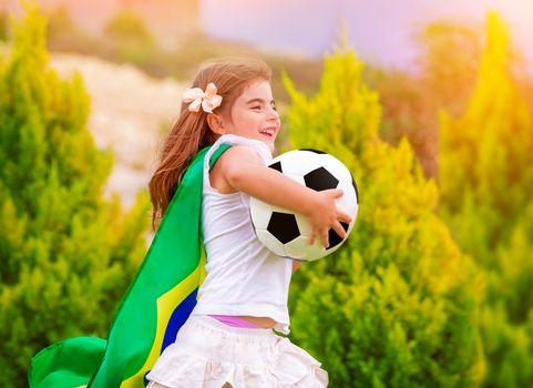 Little active football fan