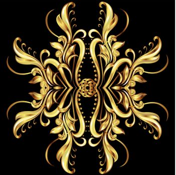Seamless pattern in gold color. Six patterns similar to vines in different directions