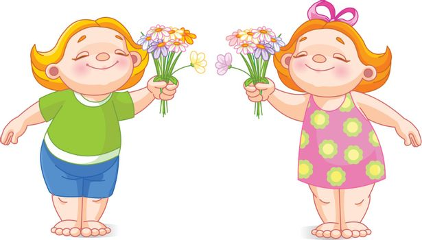 Vector image of cute babies with bouquets