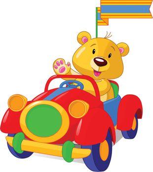 Bear sitting in Toy Car