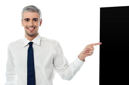 Businessman with black panel