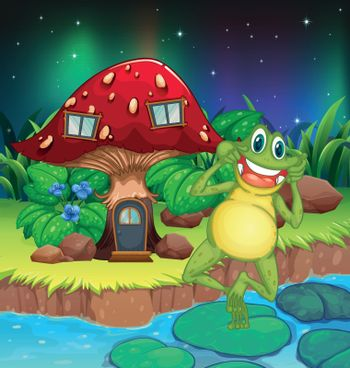 An annoying frog near the red mushroom house