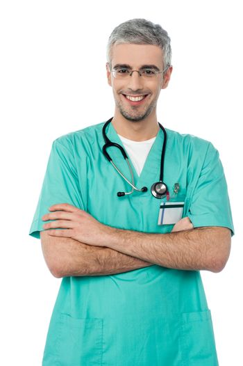 Smiling doctor with stethoscope