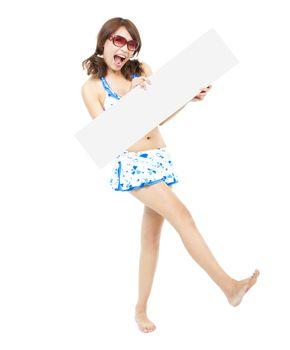 happy sunshine woman holding a board