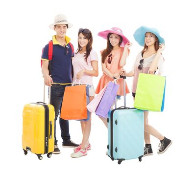 young people travel worldwide and shopping