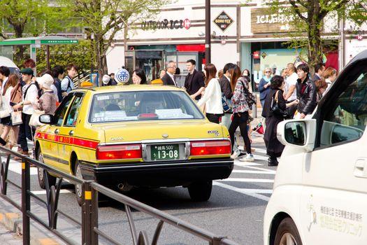 Traffic jam on the main crossroad of Harajuku shopping street