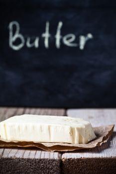 fresh butter and blackboard